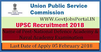 Union Public Service Commission Recruitment 2018 – National Defence Academy & Naval Academy Examination (NDA)(I) 2018 (415 vacancy)