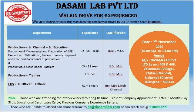 Dasami Lab Pvt. Ltd Walk in Drive- Production/ EHS On 7th Nov 2020 @ Veliminedu, Nalgonda