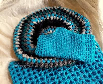 Crochet cap - beret - inside