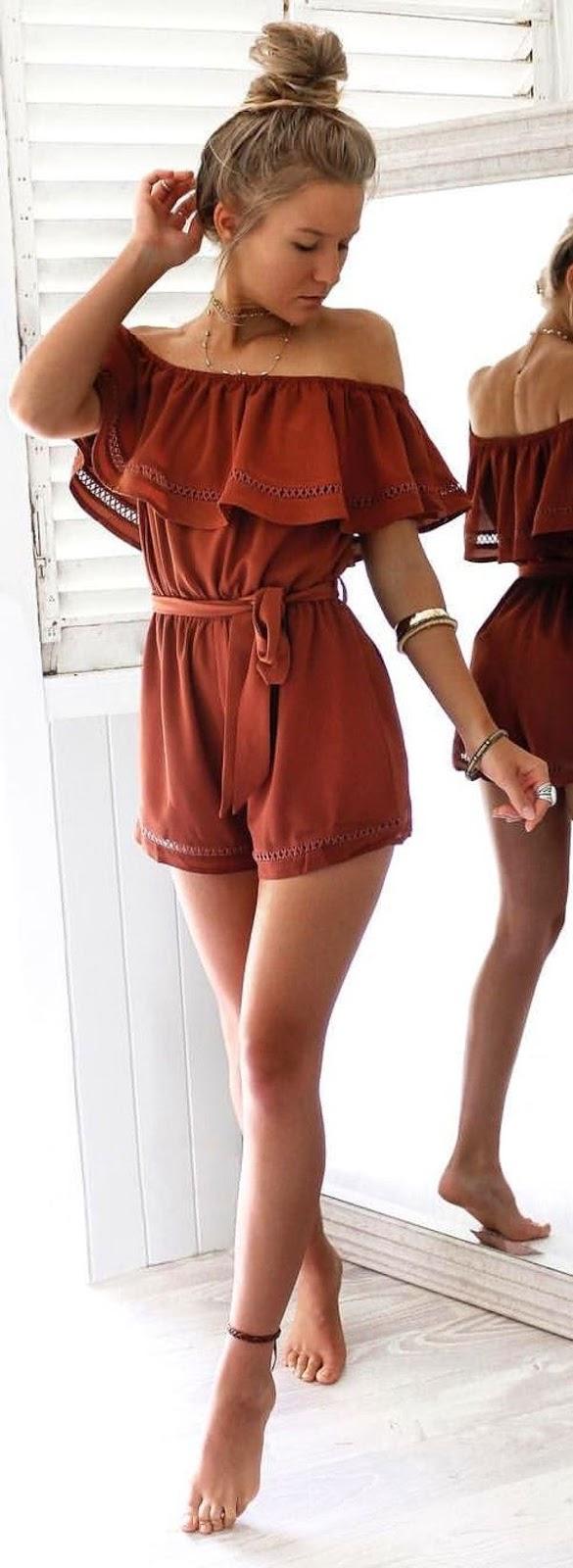 cool summer outfit idea / off-shoulder palysuit