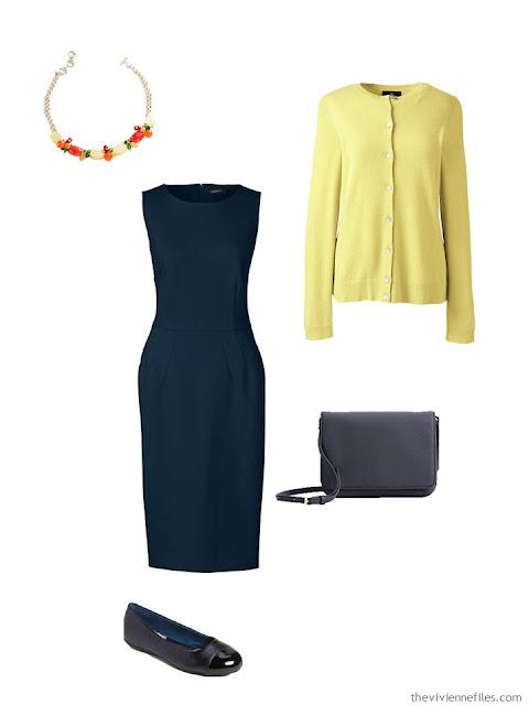 navy dress with yellow cardigan