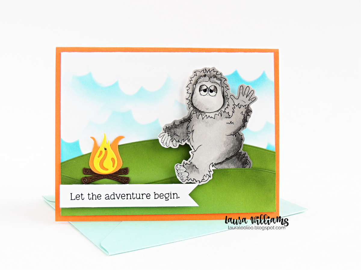 Let the adventure begin! Make a handmade card with stamps and die cutting, featuring Bigfoot with the Camping With Bigfoot clear stamp set from Impression Obsession.