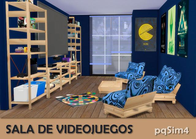 Detalle sala videojuegos sims 4 custom content azul