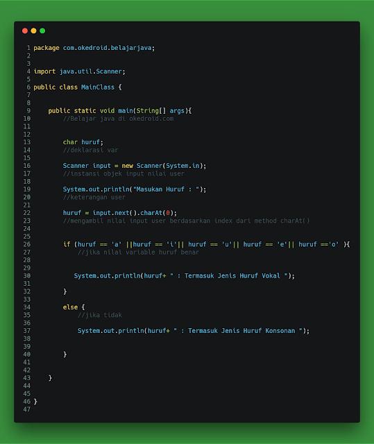 Contoh Code Program Mengecek Menentukan Huruf Vokal atau Konsonan Java