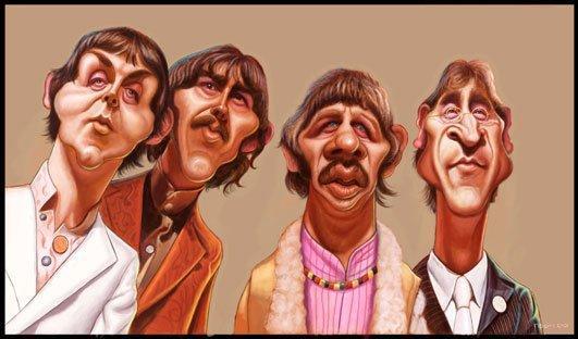 Caricatura de The Beatles por Walter Fornero