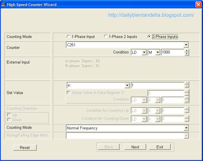 Bảng lựa chọn cấu hình cho bộ đếm tốc độ cao PLC Delta