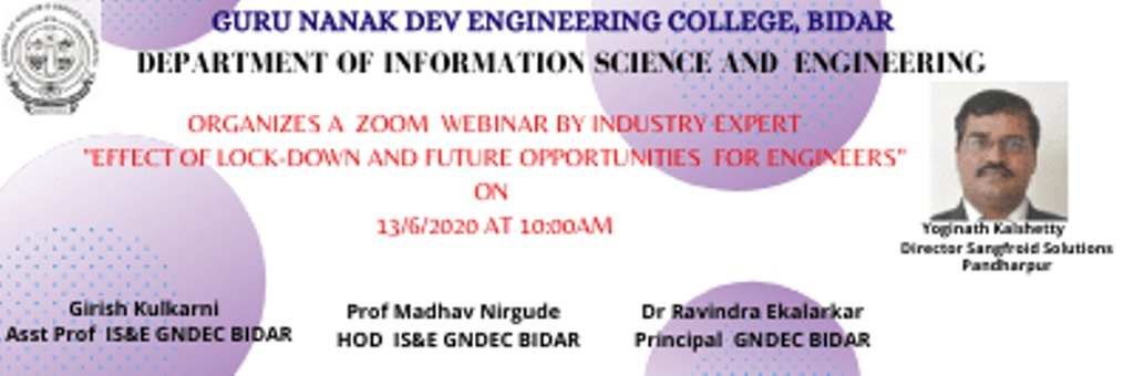 Webinar conducted by ISE Department on 13th June 2020 by