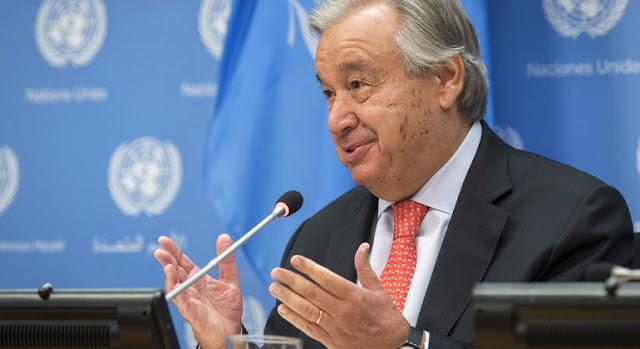 El Secretario General António Guterres en una conferencia de prensa.ONU/Mark Garten