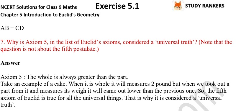 NCERT Solutions for Class 9 Maths Chapter 5 Introduction to Euclid's Geometry Exercise 5.1 Part 4