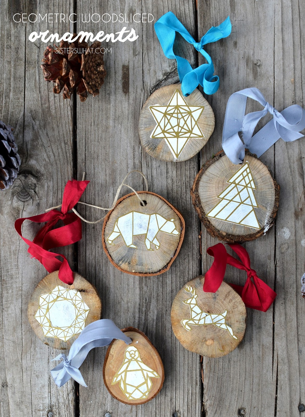 Geometric Wood Sliced Ornaments