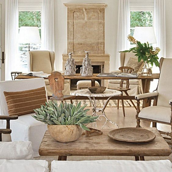 Shannon Bowers interior design rustic wood elegant living room