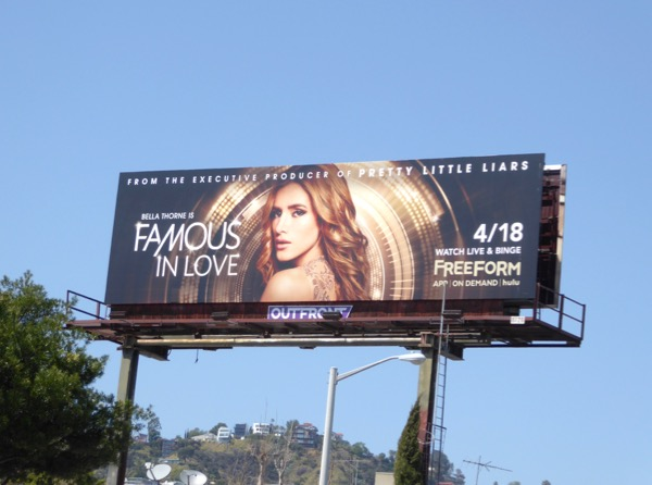 Famous in Love Freeform series billboard