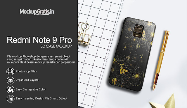 Mockup Case 3D Xiaomi Redmi Note 9 Pro Gratis