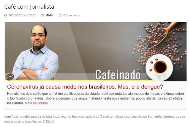 Café com Jornalista divulgado no Portal do Rigon – Imagem: Reprodução