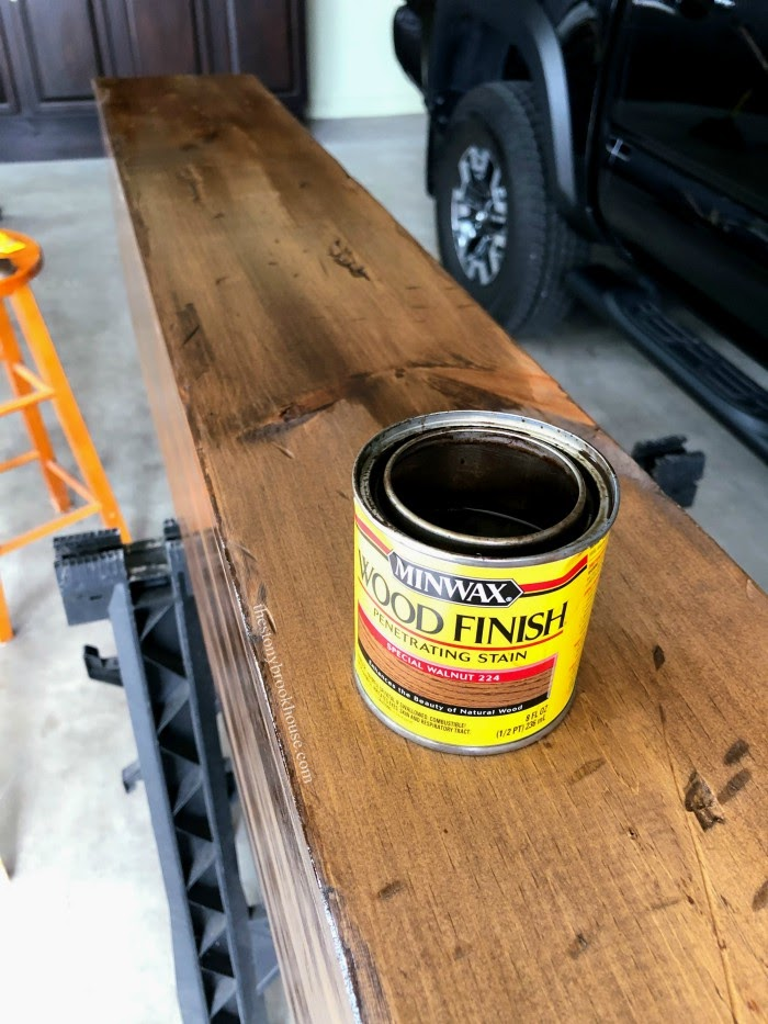 Staining Faux Wood Beam Mantel