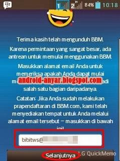 Registrasi Email di BBM Android