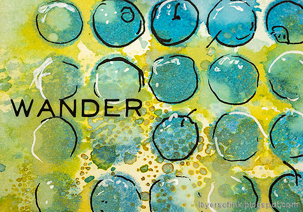 Layers of ink - Blueberries with stencil and ink tutorial by Anna-Karin Evaldsson. Add rub-ons.
