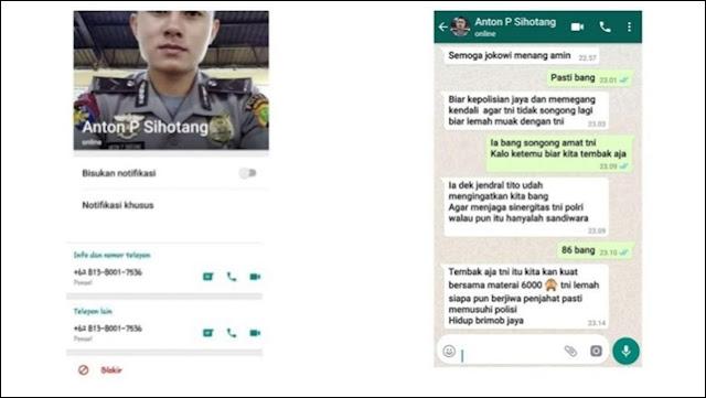 Beredar Screenshot Anggota Polri Hina TNI, Polisi Sebut Hoaks