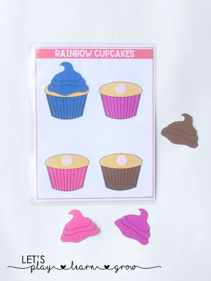 This rainbow cupcakes activity has children matching colored icing to the colored cupcake or the color word on the cupcake. Three versions available.