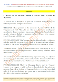 special resolution to increase maximum number of directors above fifteen