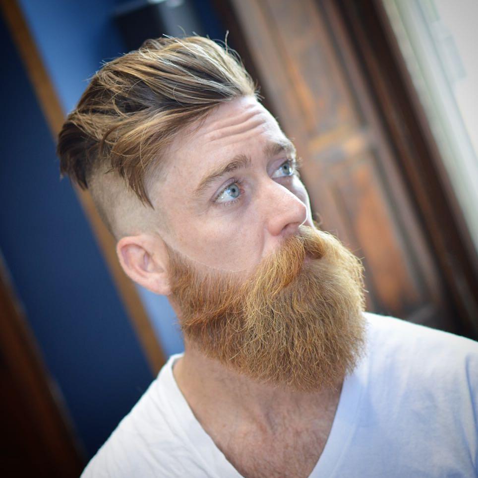 Undercut Hairstyle + Full Beard