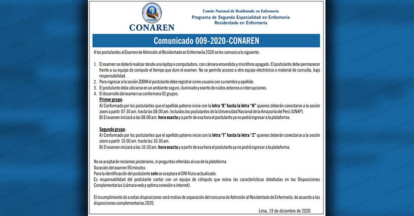 COMUNICADO CONAREN: Precisiones para el Examen de Admisión al Residentado en Enfermería 2020 (COMUNICADO 009-2020-CONAREN) www.conaren.org.pe