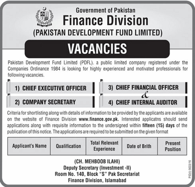 Jobs in Finance Division Pakistan Development Fund Department Islamabad 26 April 2017