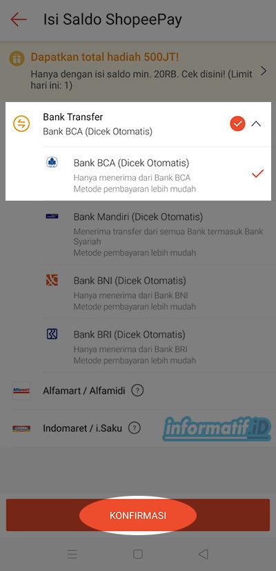 Isi Saldo ShopeePay Via BCA Mobile - Pilih Bank Transfer