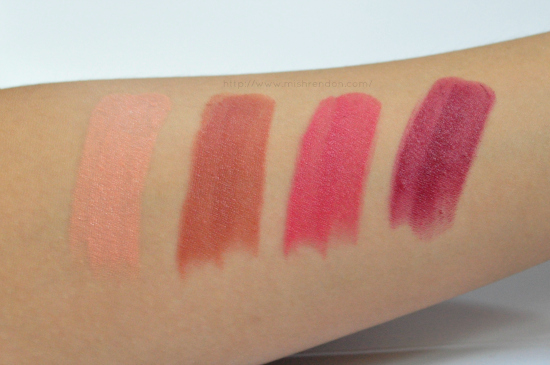 Wet and Wild Megalast Lip Color Review and Swatches L to R: Pink Suga 900B, Sandstorm 913C, Wine Room 906D, Cherry Bomb 918D