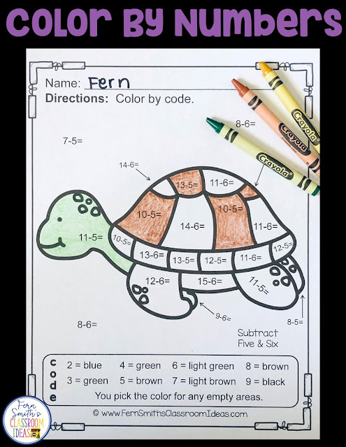 Subtraction Ocean Fun - FIVE Color By Numbers Printables for some Ocean Math Fun in your classroom! Looking for a resource to excite and engage your students? Print this packet, add it to your weekly plans and you're all done. Your students will love working on these skills during seat work, bellwork, center time, small group lessons, morning work, tutoring... they are even perfect for homework! Are your parents asking for extra work for their children? #FernSmithsClassroomIdeas