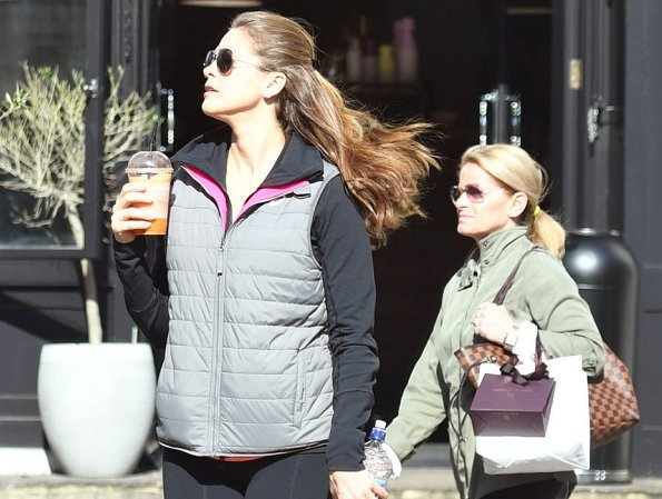 Princess Madeleine of Sweden was seen when she was walking with a beverage in downtown of London
