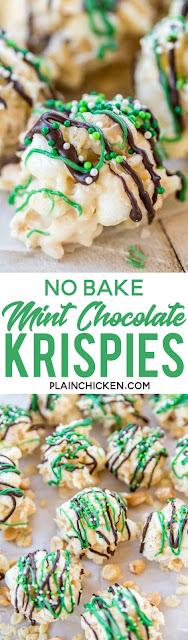 No- Bake Mint Chocolate Krispies
