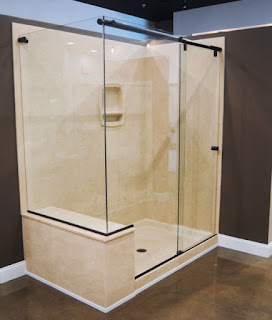 A Hydroslide Shower With a Glass Side Panel