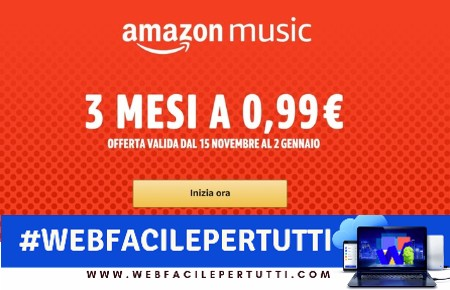 Amazon Music Unlimited è disponibile in offerta speciale: 3 mesi di Amazon Music Unlimited a 0.99€.