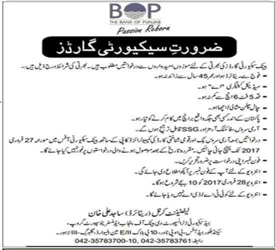 Bank of Punjab BOK Jobs February 2017