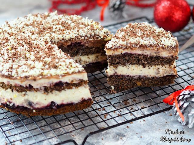 Ciasto makowe z kremem budyniowym i białą czekoladą