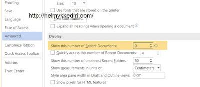 Cara menghapus recent dokumen