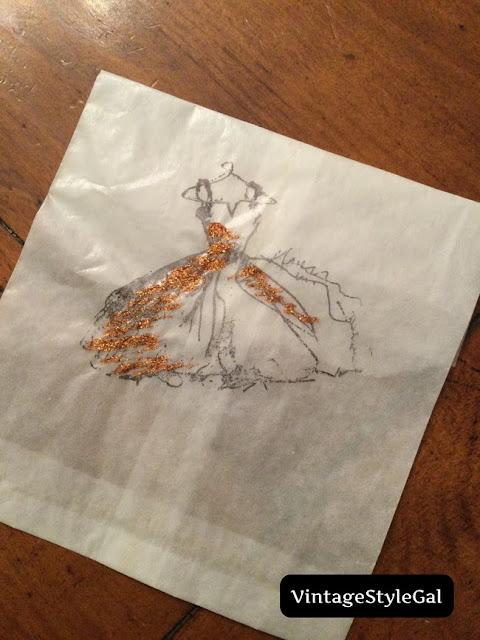 dress on a boutique bag