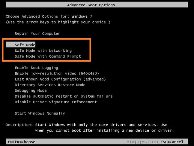 cara masuk safe mode windows 7