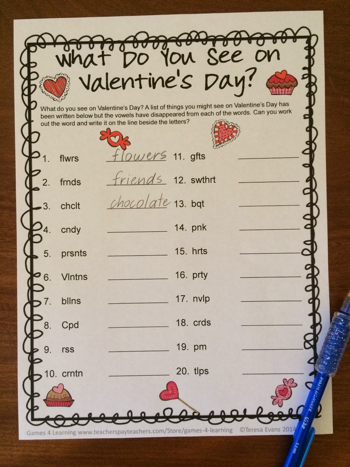 Fun Games 4 Learning Valentine S Day Literacy Freebies