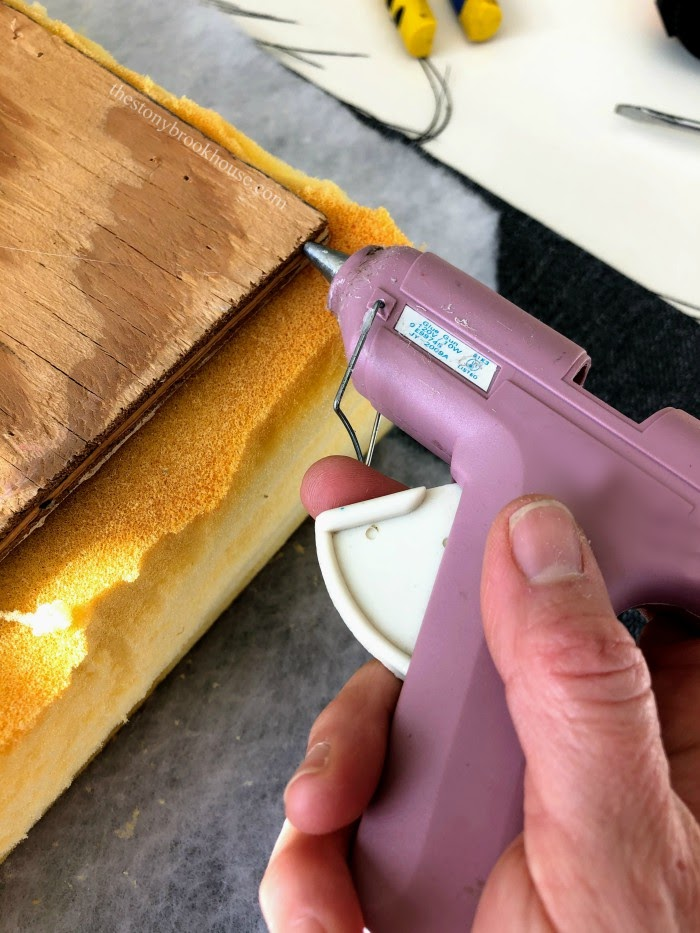 gluing foam to cover wood edge