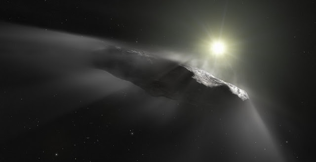 This artist's impression shows the first interstellar object discovered in the Solar System, `Oumuamua. Credit: ESA/Hubble, NASA, ESO, M. Kornmesser