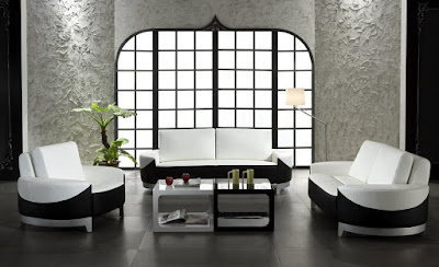 แบบห้องรับแขกสีขาว ดำสวยๆ