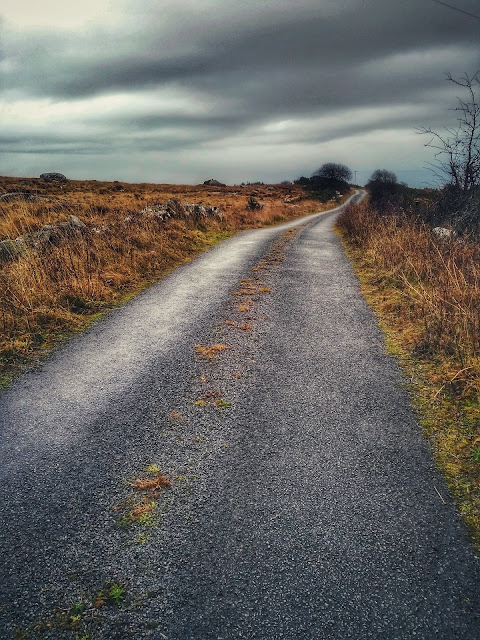 road thorough the bogs, moody weather, Connemara