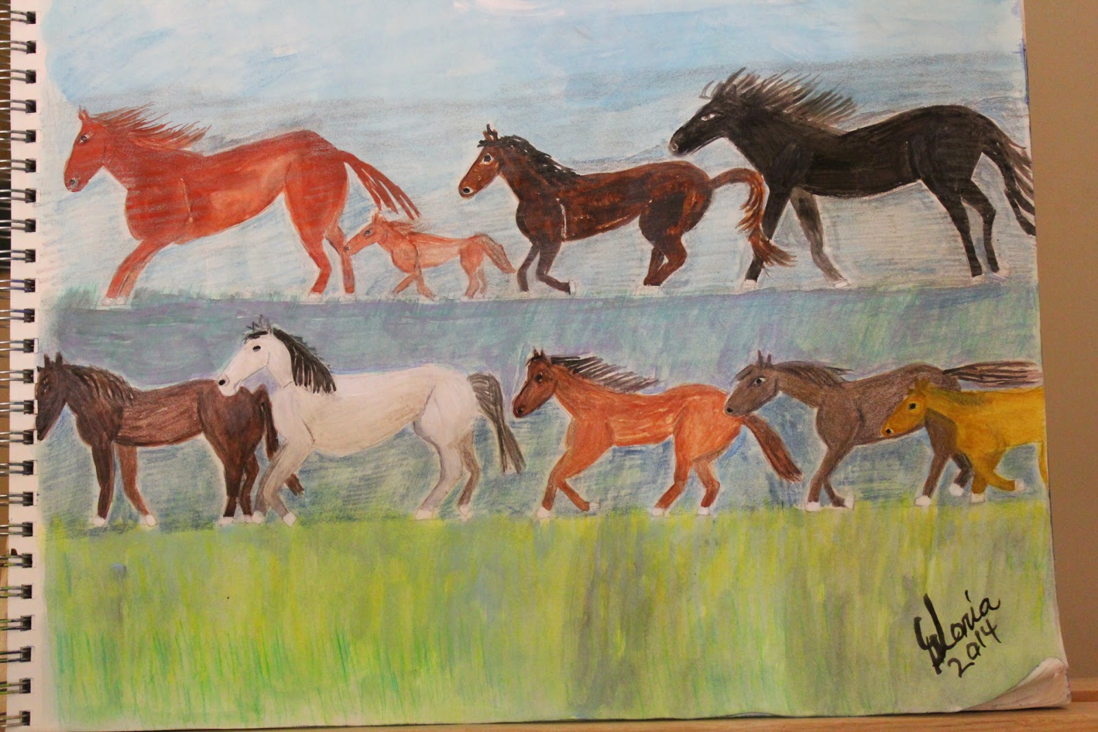 """Chincoteaque Wild Horses"" sketch by Gloria Poole of Missouri; yr 2014"