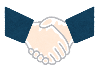 手袋をつけて握手する手のイラスト(スーツ)
