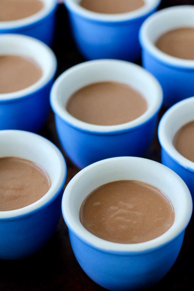 Chocolate Pots de Crème in blue jars