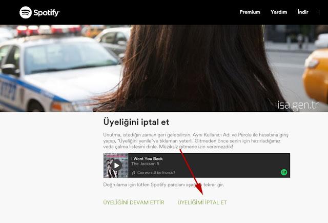 spotify premium nasıl iptal edilir