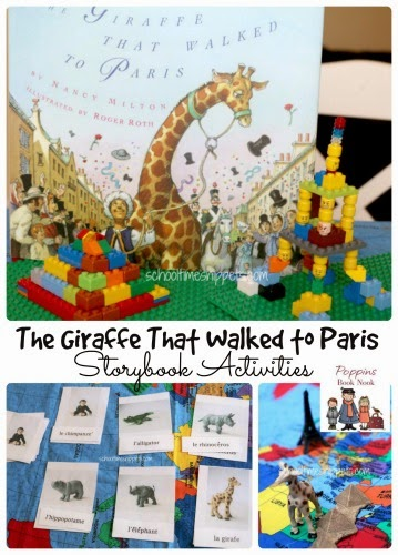 The Giraffe that Walked to Paris storybook ideas!  Build the Eiffel Tower and Pyramids using Lego and learn some French words