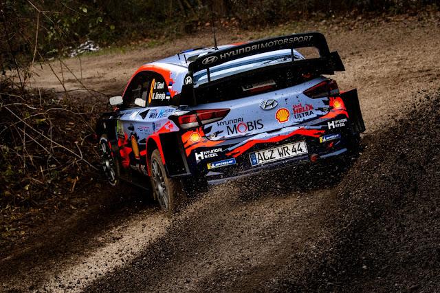 A sideways Hyundai rally car